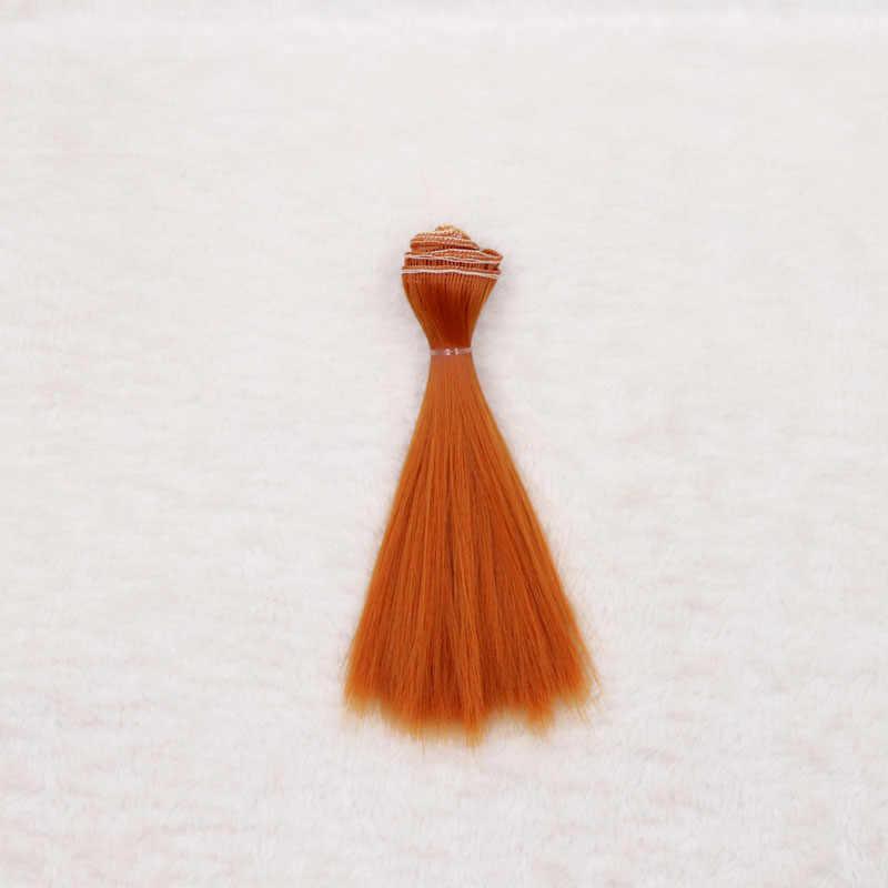 1 adet 15*100cm bebek aksesuarları uzun düz sentetik elyaf BJD SD peruk saç bebek peruk yüksek sıcaklık tel kız oyuncak