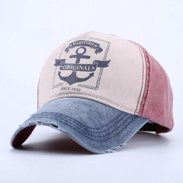 Women Men 1943 Anchor Printed Cap Maritime Original Caps Retro Cotton Baseball  Hats With Faux Leather f18b8f1560d8