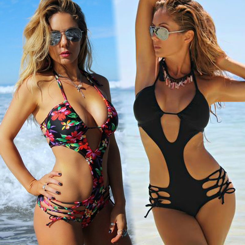 Floral One Piece Swimsuit Wanita Bathing Suit Bandage Halter Sexy Thong Pakaian Renang Padded Tinggi Cut Out Monokini Trikini Beachwear
