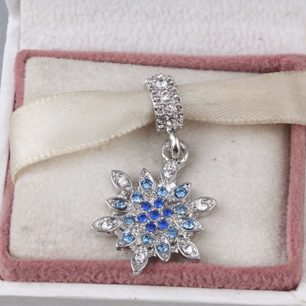 Fit Pandora Charms Snowflake Silver Pendants with Clear Crystal and mixed Blue Shades of Crystal