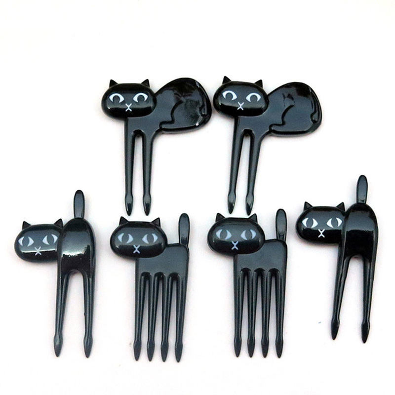 FHEAL New 6Pcs Mini Animal Fork Fruit Picks Cute Cartoon Black Cat Children Fork Toothpick Bento Lunch Box Decor Accessories  (9)