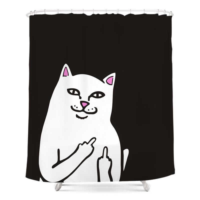 Lucu Jari Tengah Kucing Shower Tirai Tahan Air Kain Poliester Dekorasi Kartun Kamar Mandi Tirai Hitam Putih