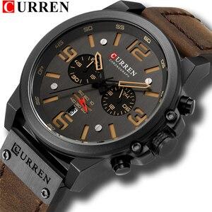 Image 1 - Curren relógio de pulso quartzo masculino, com pulseira de couro com data estiloso casual formal para homens 8314