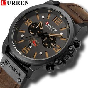 Image 1 - Top Merk Luxe CURREN 8314 Fashion Lederen Band Quartz Mannen Horloges Casual Datum Bedrijf Mannelijke Horloges Klok Montre Homme