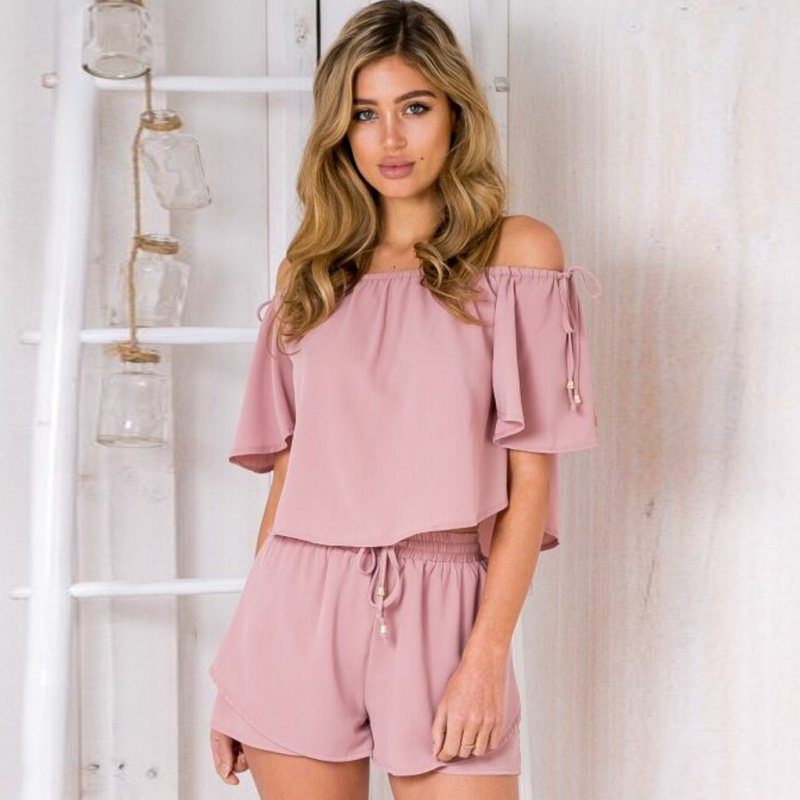 Women Sets 2 Pieces Lady Clothing Set Summer Women Suits Ladies T-shirt Tops Tee + Shorts Clothes