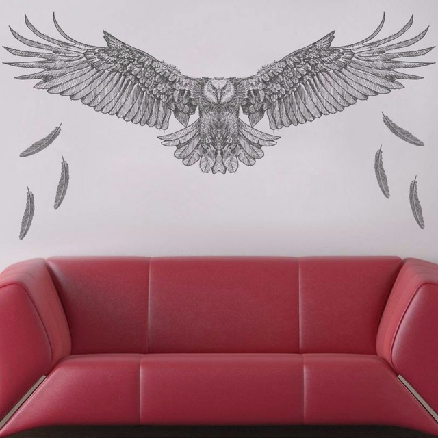 US $486Black sketch eagle office wall stickers feather bedroom living  room study fashion animal wallpaper removable self adhesive decal-in Wall