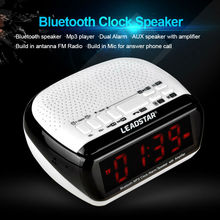 Portable Bluetooth Speaker Luminous LED display Alarm Clock with battery FM Radio For Home Room decoration Android App control