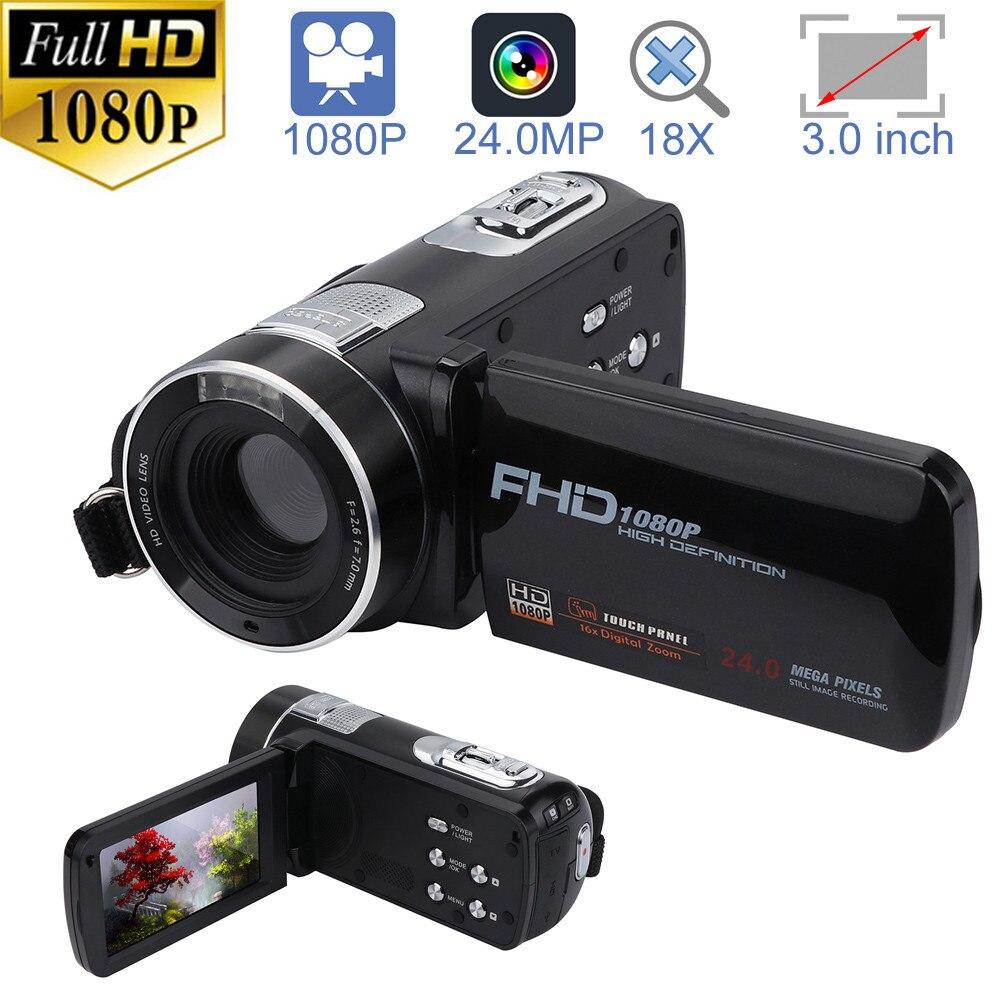 HIPERDEAL caméscope FHD 1080 P 24.0MP 3.0 pouces écran LCD 18X Zoom numérique caméra Vision nocturne professionnel appareil photo numérique cadeau