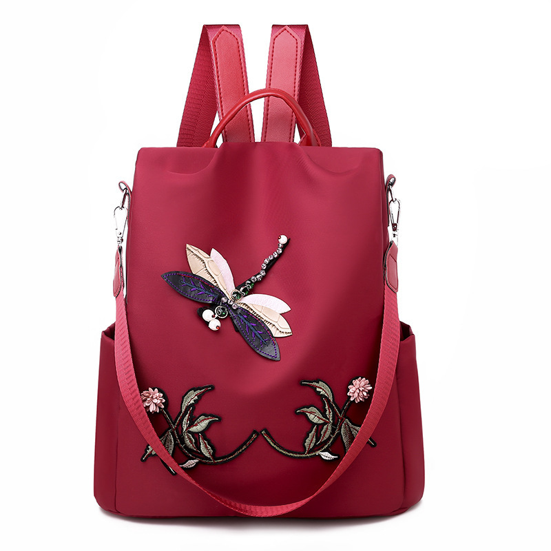 Waterproof Nylon Women Backpack Zipper Oxford School Bags For Girls Dragonfly Flower 3D Embroidered Backpack Female Rucksack-in Backpacks from Luggage & Bags