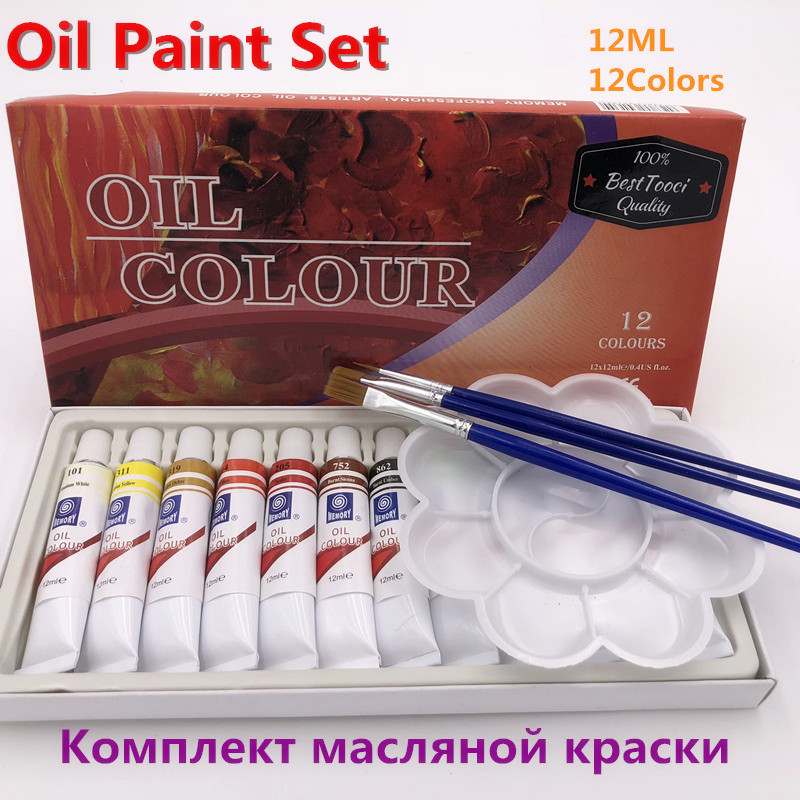 цена на Art Paint Acrylic Oil Paint 12 ML 12 Colors Set Canvas Pigment Art Paints Each Tube Drawing Free For Brush And Paint Tray