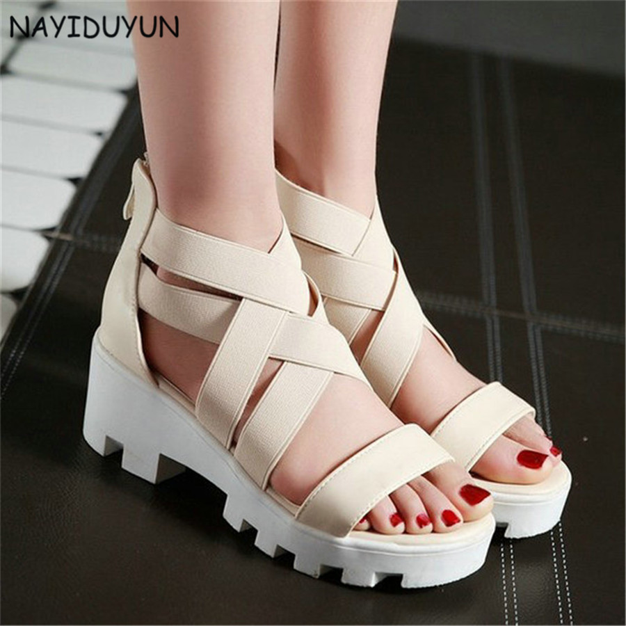 bc979566c2e NAYIDUYUN 2019 Pumps Womens Black Beige Stretchy Ankle Cross Strappy Roman  Gladiator Sandals High Heels Platform Summer Shoes-in High Heels from Shoes  on ...