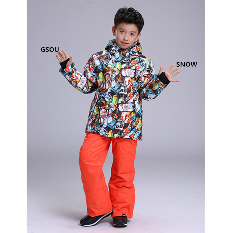 Gsou Snow winter childrens clothing sets Skin Care Kits Childrens Jackets childrens winter warm ski suit Jackets + Pants