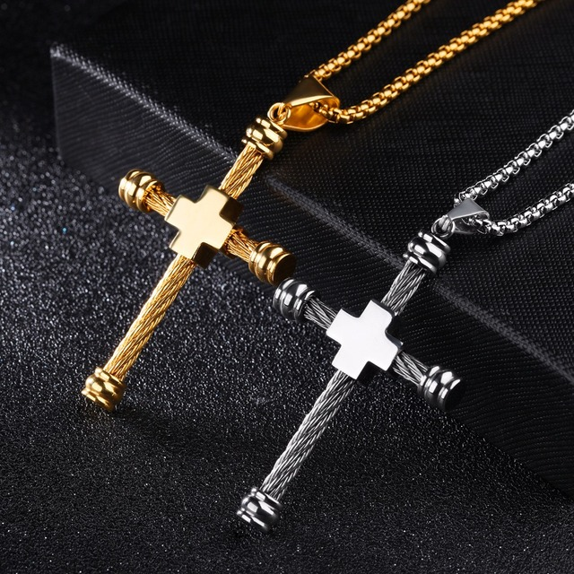 Aliexpress buy jhsl brand men cross christian necklaces jhsl brand men cross christian necklaces pendants punk stainless steel necklace link chain fashion jewelry aloadofball Images