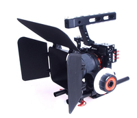 15mm Rod Rig DSLR Camera Video Stabilizer Cage +Follow Focus + Matte Box for Sony A7 A7S A7RII A6300 A6000 /GH4 GH3 /EOS M5 M3