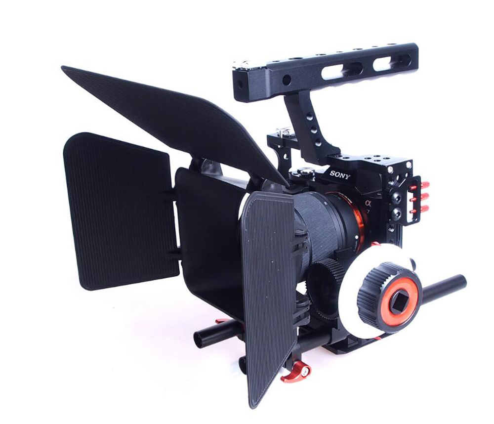 15mm varilla Rig DSLR cámara de vídeo estabilizador jaula + enfoque de seguimiento + caja mate para Sony A7 A7S A7RII A6300 A6000/GH4 GH3/EOS M5 M3