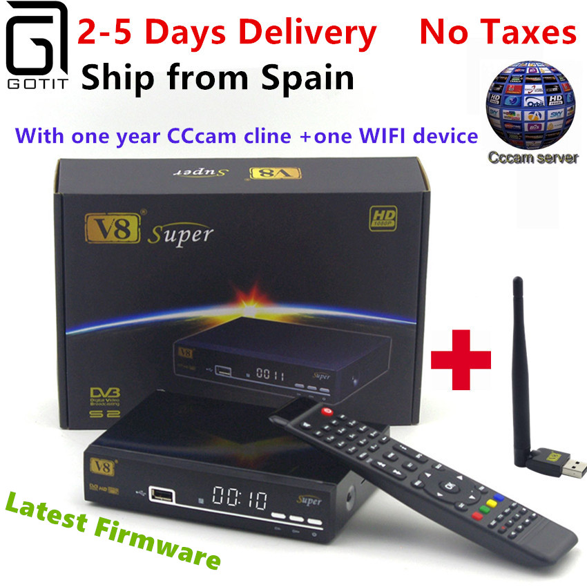 Satellite Receiver Freesat V8 Super DVB-S2 with 1 Year Europe Cccam 4clines Full HD 1080P and USB WIFI Spain French UK Germany v8 super dvb s2 full 1080p hd fta satellite receiver usb wifi support biss key newcam 3g iptv youporn 1 year europe cccam server
