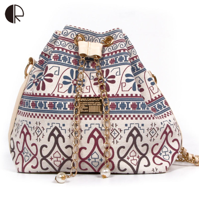 DUSUN Promotion Hot Women Chains Fashion Bucket Bag Canvas Patchwork Houndstooth Brand Messenger Bag Bolsas