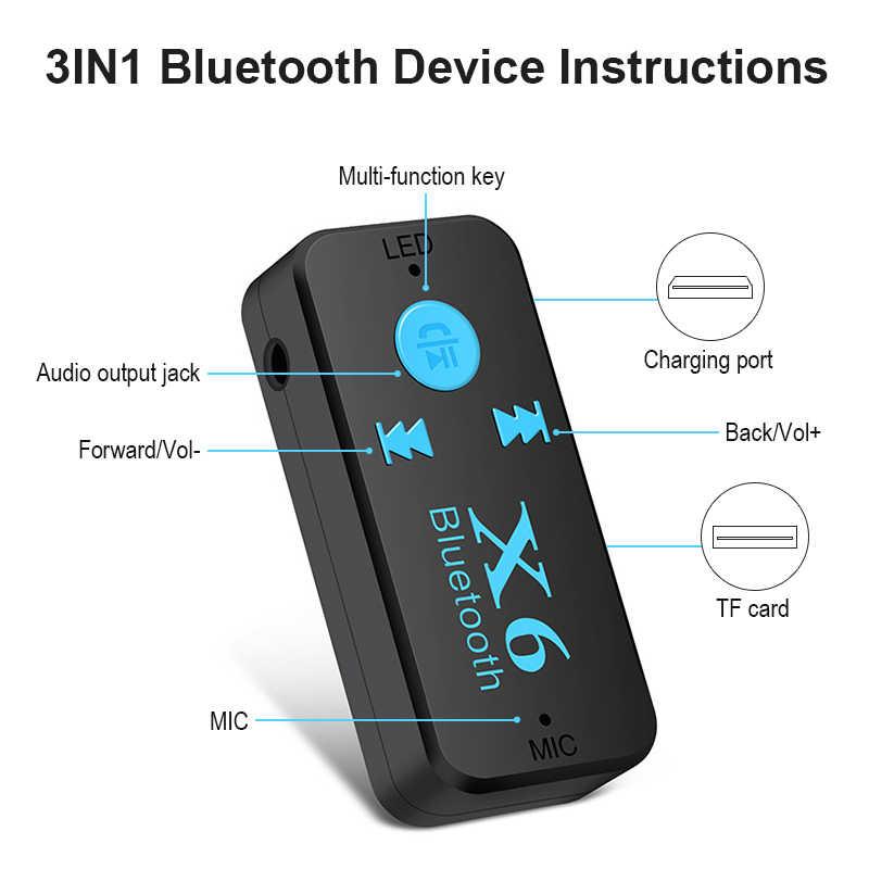 Беспроводной Bluetooth 4,0 адаптер 3 в 1 bluetooth-приемник USB 3,5 мм аудио разъем TF кардридер микрофон поддержка вызова для автомобильного динамика X6