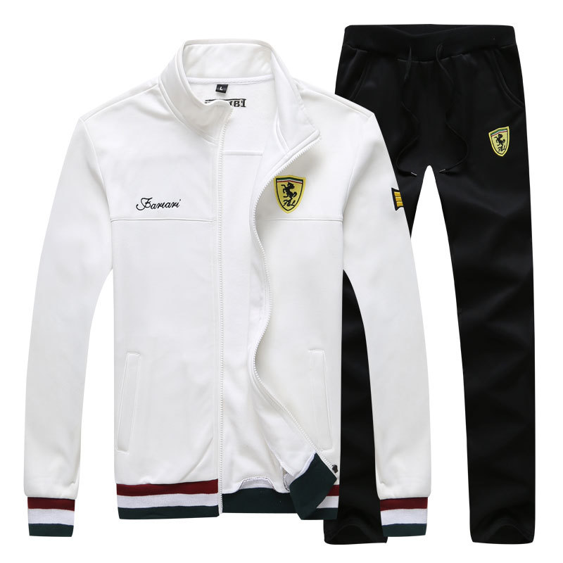 2019 Men Tracksuits Outwear Hoodies Zipper Sportwear Sets Male Sweatshirts Running Sets Winter White Clothing+Pants Plus Size