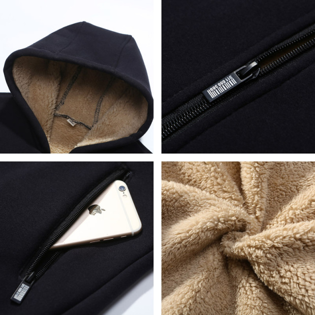 Large size New Arrival Winter Thickening Hoodies Men Casual  Jacket Fur Lining Solid Warm Zipper Coats Sweatshirts Male Parkas