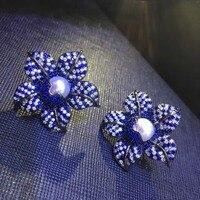 Голубой цветок Стад Серьги натуральный пресноводный жемчуг серьги стержня стерлингового серебра 925 Женская мода ювелирные изделия Бесплат
