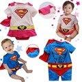 Novo superman menino meninas macacão de bebê moda verão recém-nascidos macacão macacão de algodão desgaste do bebê da roupa do bebê de manga curta