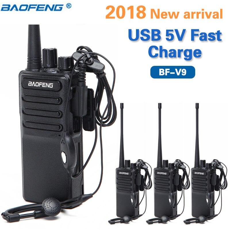 4PCS Baofeng BF V9 mini Walkie Talkie USB 5V Fast Charge UHF 400 470MHz Up of