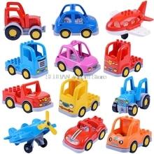 Bloqueo Duplo Juguetes de bloques de construcción de coche para niños Compatible Duploe City Poice coches de gran tamaño ladrillo camión helicóptero Duploed