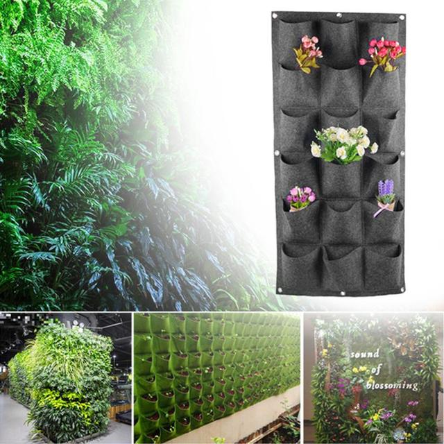 18 Pockets Non-woven Planting Bag Garden Flower Pots Vertical Hanging Plant Pots Wall Green Wall Pot and Planter Home Decor