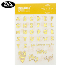 6pcs/lot Creative Golden letters PVC diary sticker diy scrapbooking decoration planner kawaii office stationery