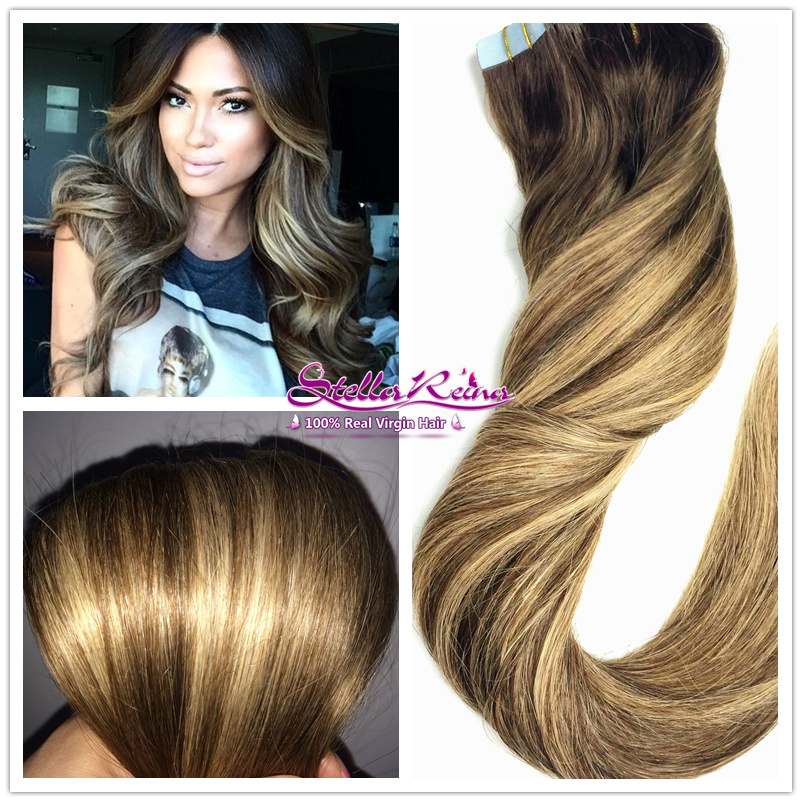 Ombre Balayage Highlights Blonde Brazilian Straight Hair