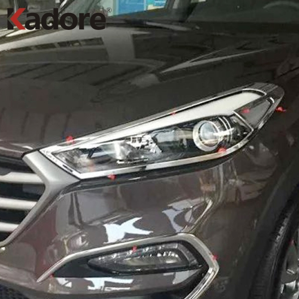 цена на Fit For Hyundai Tucson 2015-2017 2018 ABS Chromed Front Head Light Lamp Shade Cover Car Decoration Headlight Sheild Accessories