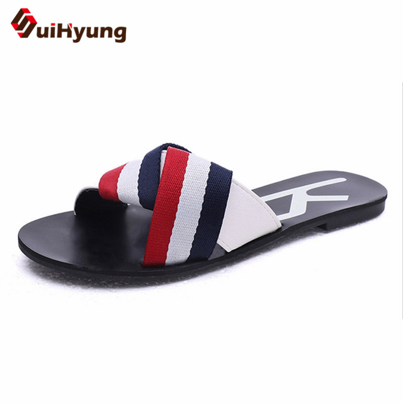 Suihyung 2018 New Women Shoes Summer Slippers Fashion Colored Striped Casual Sandal Flip Flops Woman Summer Flats Beach Slippers стоимость