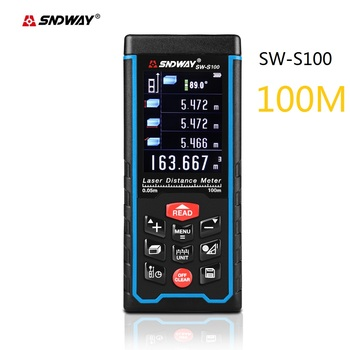 High accurate Digital Laser rangefinder 100M laser distance meter Angle Area Volume tester tools with Color LCD display