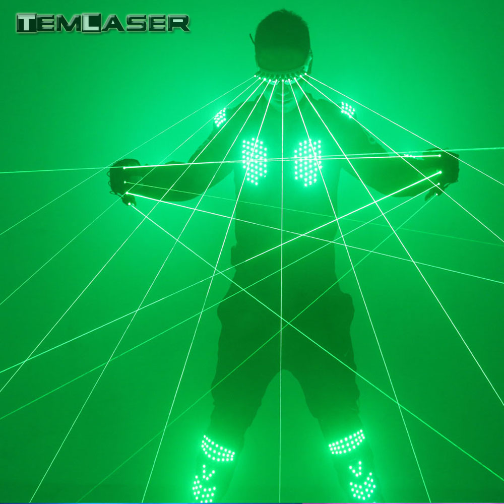 Nieuw aangekomen groene laserkleren, groene lasergilet LED-kostuums met laserhandschoenen en bril voor feestbeurzen