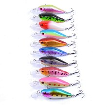 10pcs/set 7g 8g Fishing Minnow Lure Reflective 3D Eyes Hard Baits Hooks For Wobblers Pike Winter Sea Fishing Iscas Minnow