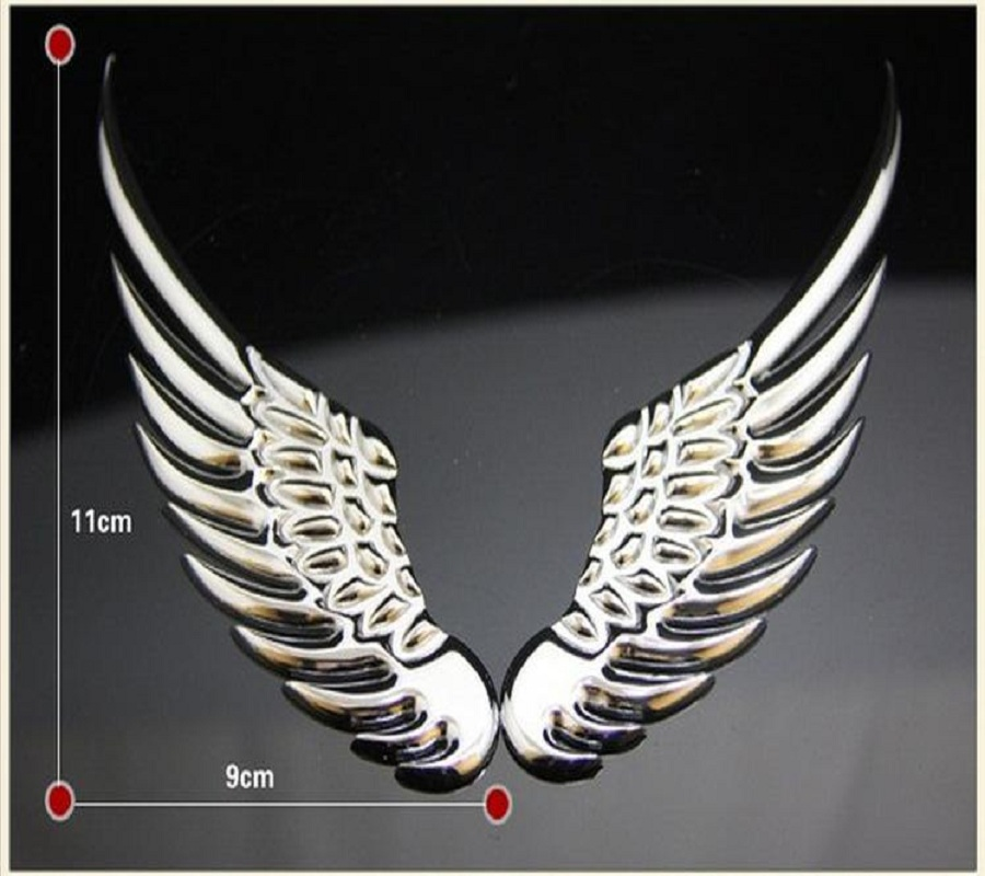 3D Aile ailes d ANGE ANGE autocollant voiture embl/ème chrome argent