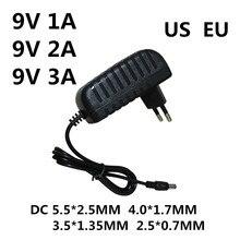 1 pces adaptador ac/dc dc 9 v 1a 2a 3a ac 100-240 v conversor adaptador de alimentação 9 v volt 1000ma carregador fonte de alimentação ue eua plug