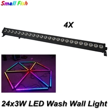 цена на 4Pcs/Lot Sound Activated Lamps 24x3W RGB 3in1 Led Wall Wash Light MX512 Led Stage Light Party Wedding Bar Disco DJ KTV Lamp