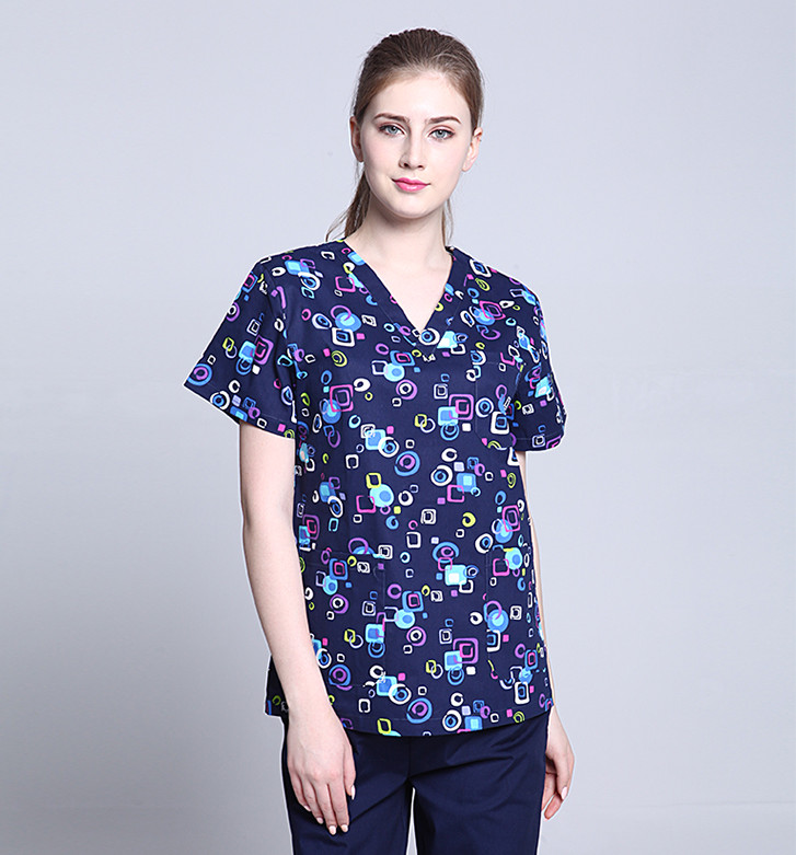 Surgical Cap 2017 Print Women's Medical Scrub Dental Clinic Working Top Hospital and Pet animal unisex scrub set uniform