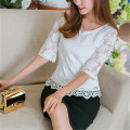 2017 Fashion Summer Women Lace Blouse Ladies Elegant White Crochet O neck Half Sleeve Casual Tops Shirts Plus Size Blusas