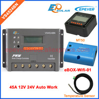 MT50 дистанционного метр Wi Fi поле подключения адаптера VS4524BN 45A 45amp 12 В 24 В Авто Работа датчика температуры Солнечный портативный контроллер