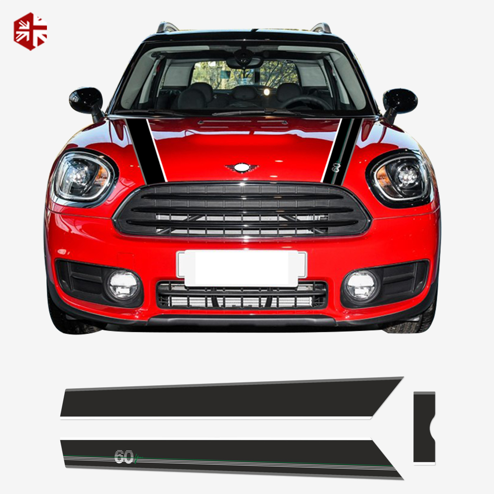 60th Anniversary Car Hood Bonnet Stripe Trunk Engine Cover Rear Graphics Vinyl Decal Sticker For MINI Countryman F60 Accessories