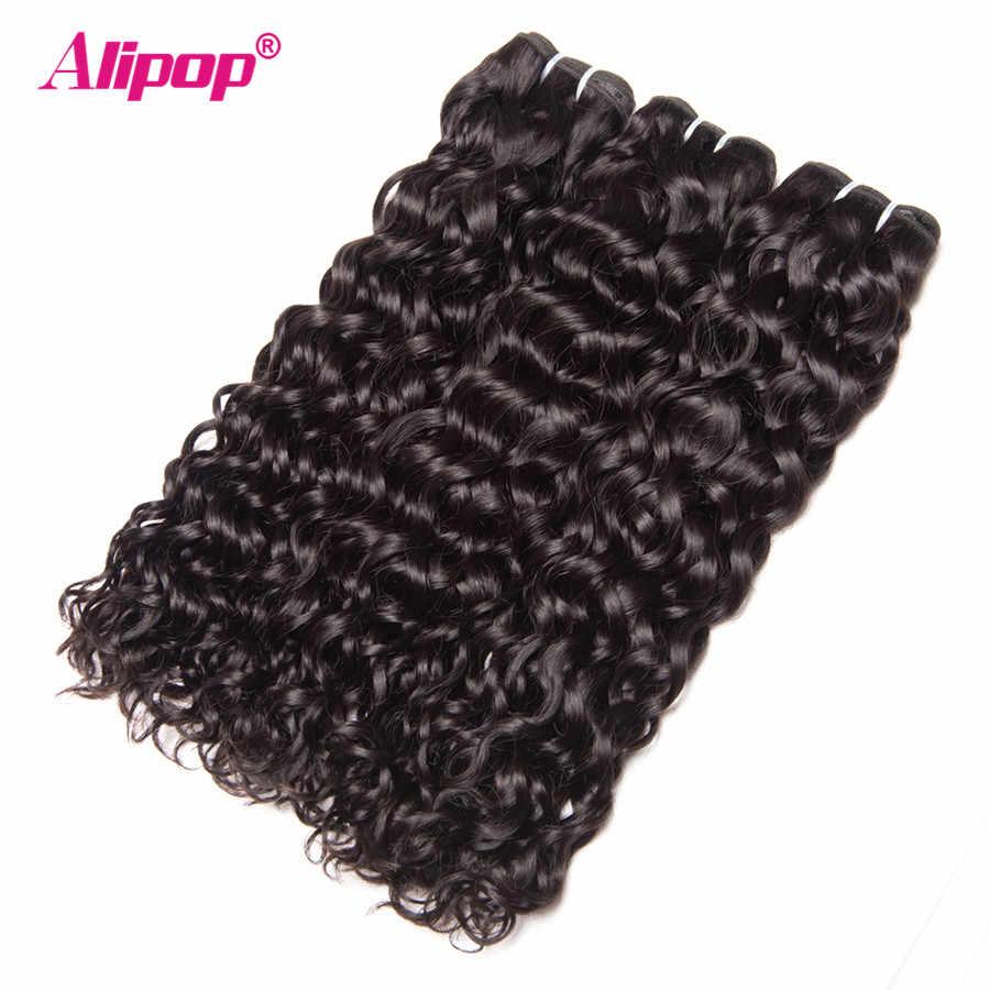 """Alipop волосы перуанские пучки волос волна воды 1/3 человеческие волосы пучки Натуральные Цветные наращивания волос 10 """"-28"""" Remy Weave можно окрашивать"""