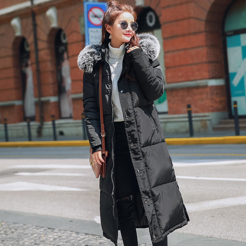 2017 Women Winter Jacket Coats Thick Fur Collar Cotton-padded Hooded Jacket Female Outerwear Coats Warm Parkas Plus Size Jacket women long plus size jackets padded cotton coats winter hooded warm wadded female parkas fur collar outerwear