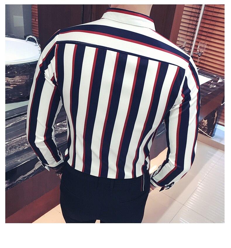Chemise coréenne à rayures hommes marine noir rouge chemise à rayures hommes à manches longues robe boutonnée blouse hommes camicia uomo grande taille 5xl - 4