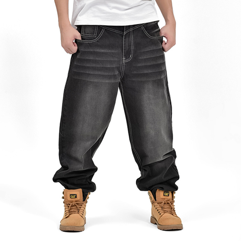 Fashion Mens Hip Hop Jeans 2016 New Arrival Loose Design Jeans Men Street Dance Movement Men Cowboy Pants Good Quality Black