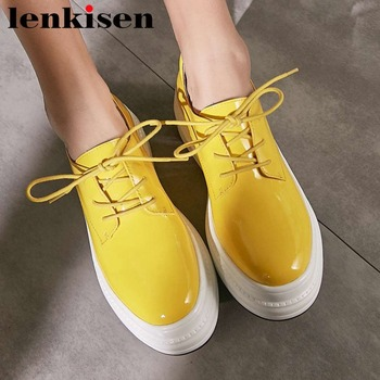 Spring Autumn round toe natural leather shallow casual shoes lace up platform thick high bottom leisure vulcanized shoes L06