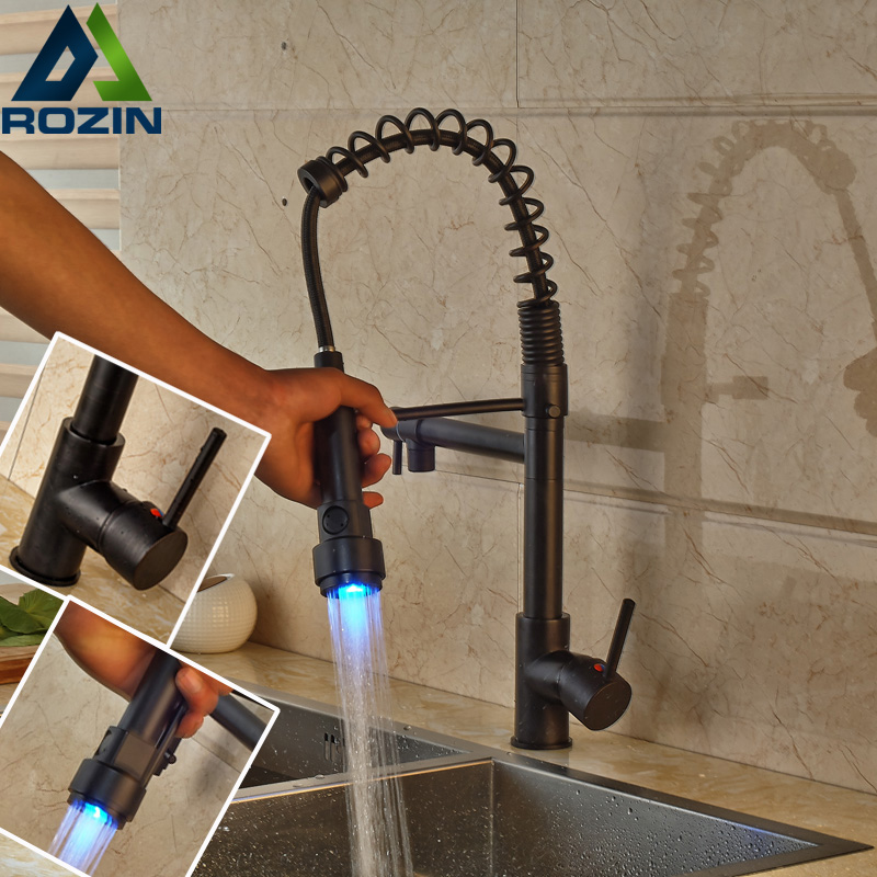 LED Color Changing Oil Rubbed Bronze Dual Spout Kitchen Faucet One ...