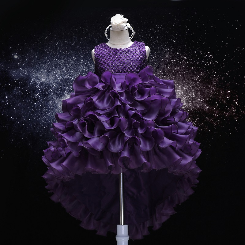 Children's Costumes Baby Girls irregular Elegant Princess Dresses With Bow Formal Party Layered Dress 5 6 7 years Kids Clothing
